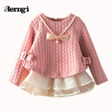 Baby Girl Dress 2017 spring girl cotton long sleeved dress Korean child female patchwork lace baby princess dress(China)
