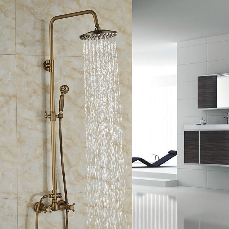 Luxury Bathroom 8 Rain Shower Head Wall Mount Shower Mixer Faucet Set Dual Handles Antique Brass Finish<br><br>Aliexpress