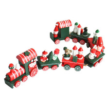 HOT 7 Pieces Wood Christmas Xmas Train Decoration Decor Gift Christmas Stage Set Levert Dropship Oct 07