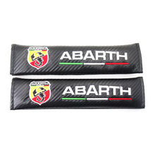 2pcs/set ABARTH Carbon Fiber Seat Belt Shoulders Pad Truck Cover Car Styling For Fiat Punto Bravo Viaggio 124 125 500 695 OT2000