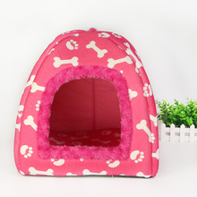 Fine joy New Dog House Foldable Soft Warm Cave Dog Bed Pet Dog House Cute Kennel Nest Fleece Cat Tent(China)