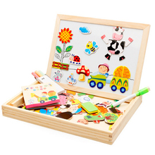 Multifunctional Educational Farm Jungle Animal Wooden Magnetic Puzzle Toys For Children Kids Jigsaw Baby's Drawing Easel Board(China)