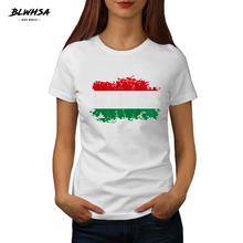 Buy BLWHSA Summer Fashion Women T Shirt Hungary National Flag Nostalgic Printed 100% Cotton White T-Shirt Women Clothing for $8.44 in AliExpress store