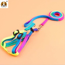 (1 harness +1 leashes )High Quality Pet RainBow Dog Collar accessories Strong Nylon dogs harness 2 size HP435