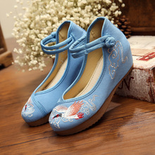 embroidered shoes 5 cm of Crested Ibis scenic features of customized rare birds China style logo women shoes