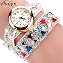 Duoya Brand Watches Women Luxury Rhinestone Popular Bracelet Wristwatch Women Lady Female Dress Cheap Electronic Quartz Watch(China)