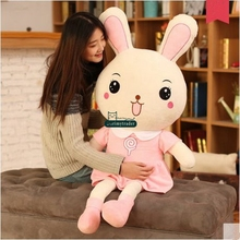Dorimytrader Huge 150cm Giant Lovely Cartoon PINK Bunny Plush Doll 59'' Big Stuffed Rabbit Toy Pillow Girl Present DY61478(China)