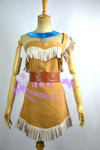 New Cosplay Ladies Fancy Dress Costumes Wild West Pocahontas Indian Costume Pocahontas Cosplay Dress(China)