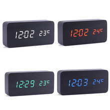 Digital LED Alarm Clock Despertador Sound Control USB/AAA Temperature Display Electronic Wooden 4 Colors Desktop Table Clock