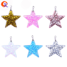 Fashion Accessories 30Pcs/Lot 35mm Choose Color Powder Star Shaped Paster With Holes And Buckle Without Stickiness Jewelry(China)