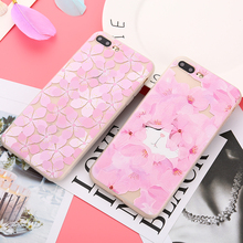 Buy iPhone 6 6s 6Plus 3D Relief Silicone cases Cover iPhone 7 7Plus Pink Flower soft coque capa Capinha iPhone 8 Plus for $1.89 in AliExpress store