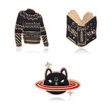 Cartoon Sweater Book Kitten Planet cat Pin button Black Cheap brooch Jacket Anime badges Broches de animais Jewelry