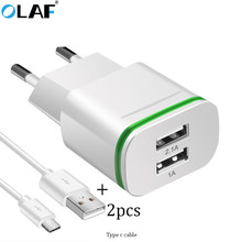 Buy OLAF Smart Travel Dual USB Charger Adapter Wall Portable EU Plug Mobile Phone Charger IPhone Samsung Xiaomi Redmi Tablet for $2.99 in AliExpress store