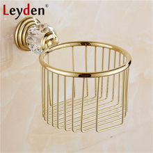 Leyden Luxury Crystal Paper Holders Gold Wall Mounted Paper Towel Basket Toilet Paper Tissue Box Holder Bathroom Accessories(China)