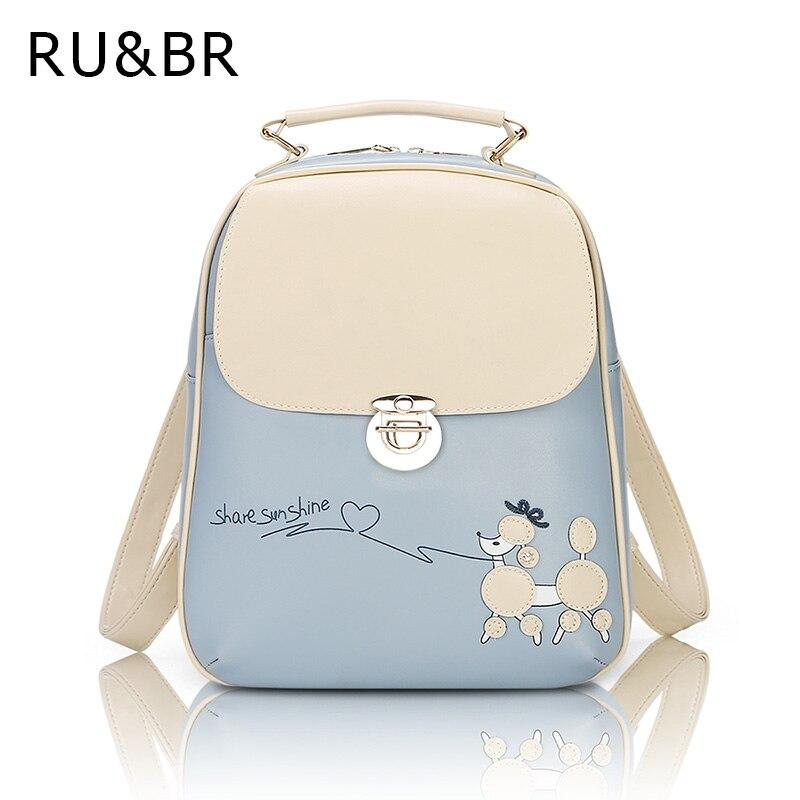 RU&amp;BR Vintage Fresh Students Backpack Female Korean Backpack School Cartoon Cute Kawaii Fashion PU Leather Backpack For Girls<br><br>Aliexpress