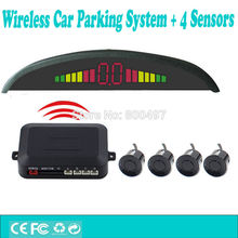 New Car Wireless Parking Assistance System with 4 Parking Sensors Colorful LED Display Auto Backup Reverse Alarm Kit