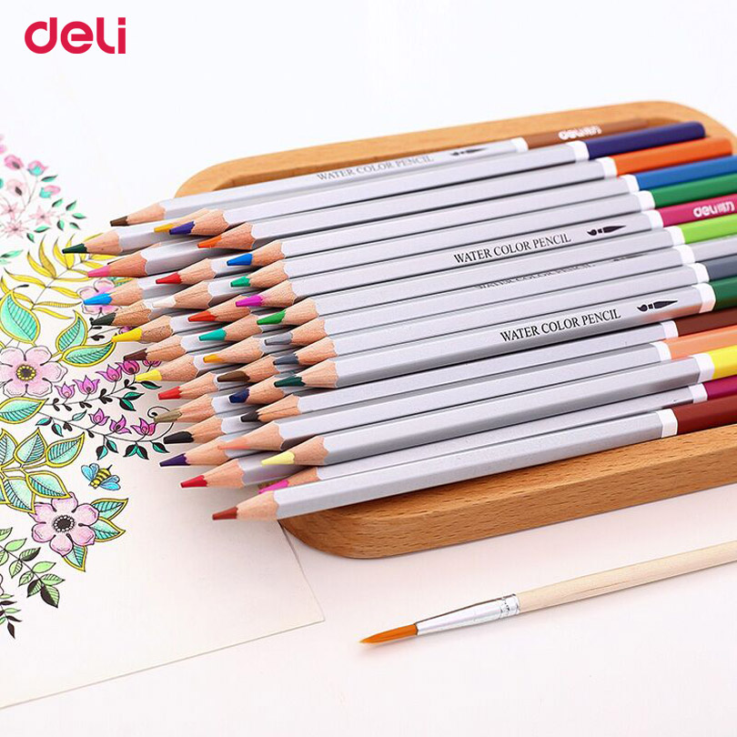 Deli 36 colors water soluble pencil with box student water color pencils painting colorful watercolor pen student supplies paint<br><br>Aliexpress