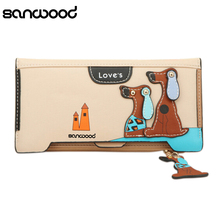 Women Long Faux Leather Dog Pendent Wallet Double Zip Hasp Purse Card Holder Bag BW76(China)