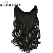 S-noilite 45/61CM Women Fish Line Hair Extensions Black Brown Blonde Grey Natural Wavy Long High Tempreture Synthetic Hairpiece