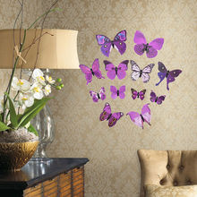 New 12PCs/bag 3D Butterfly Wall Stickers Home Decor Living Kids Bed Room Decor Art papel de parede 3D Stickers Dropshipping Hot