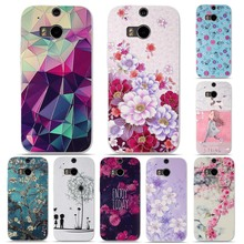 Silicone Cover for HTC One M8 Mobile Phone Case Soft TPU Shell Cases for HTC M8 Case M 8 Luxury 3D Relief Printing Cover Bag(China)