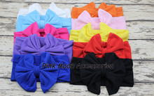 6Pcs Solid&Stripe Vintage Bow headband Baby Girl Cotton Headwrap Floppy Big Bow Baby Top Knot Headband Children Hair accessories