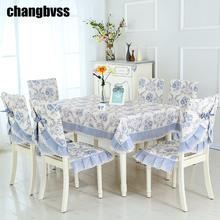 Super Comfortable Lace Tablecloth All Season Nappe Rectangulaire Chair Cover Set Wedding Tablecloth 13pcs/set Table Cloth(China)