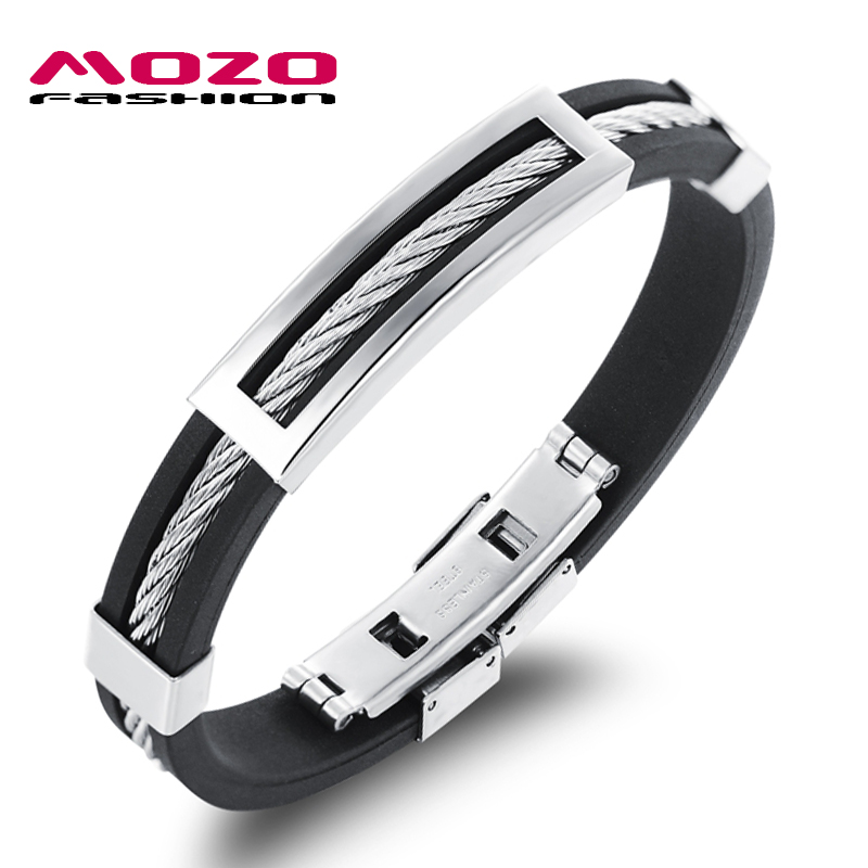 MOZO FASHION Men Bracelet Stainless Steel Wire Silicone Bracelets Cool Man Casual Bracelet Trend Male Jewelry Accessories MPH946(China (Mainland))