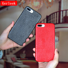 Gerleek Crocodile Skin Phone Case For iphone 7 7plus Luxury Red Black White Plain Back Cover For iphone 6 6S Plus Cases Capa NEW