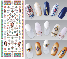 1 Sheet Water Transfer Nails Art Sticker Indian Style Vintage Cool Nail Wraps Sticker Watermark Fingernails Decals Manicure