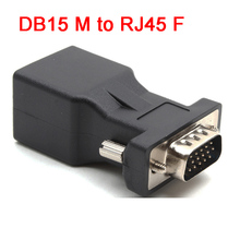 15pin VGA Male to RJ45 Female Connector Card VGA RGB HDB Extender to LAN CAT5e CAT6 RJ45 Network Ethernet Cable Adapter