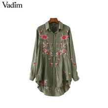 Vadim women sweet floral embroidery long shirts Army green long sleeve turn-down collar blouse ladies casual tops blusas LT1980