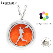 Legenstar Top Sale Stainless Steel Magnetic Aromatherapy Diffuser Pendant Jewelry Sport Man Print Perfume Locket Necklace