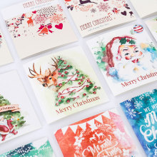 3 pcs/lot Christmas theme folding Merry Christmas message card with envelope New Year blessing greeting card Gift cards -070