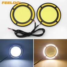 FEELDO 2pcs DC12V 30W COB DRL Round 72mm LED Light Car Daytime Running Light White DRL Yellow Turn Light #CA1422(China)