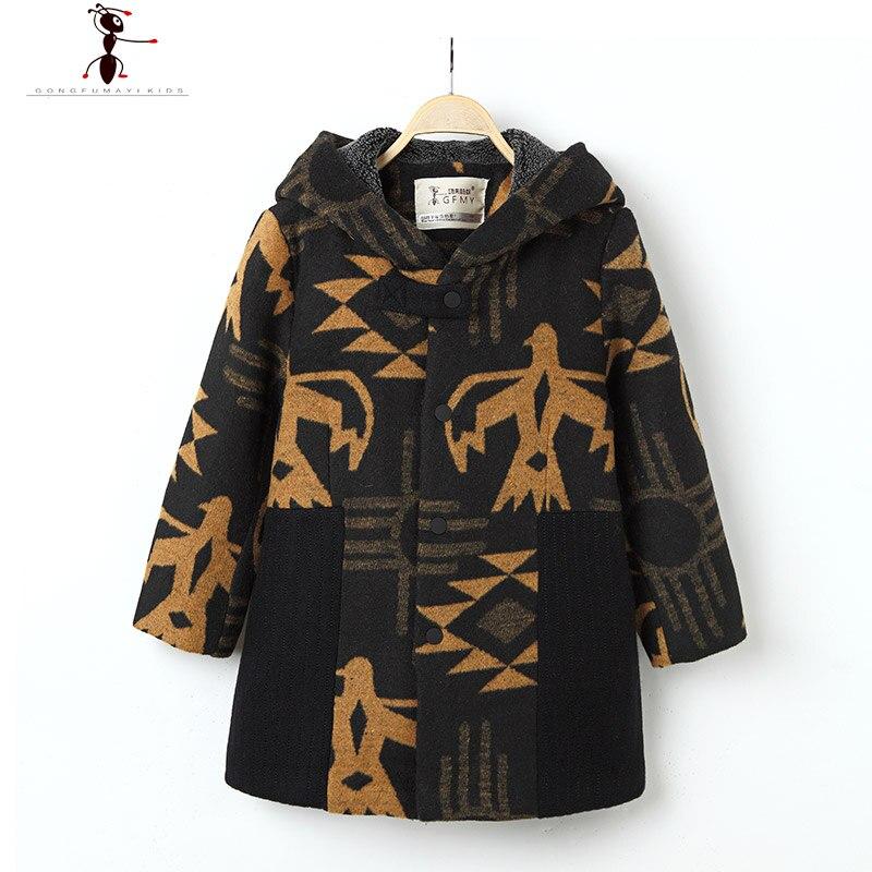 2017 Winter New Arrival Boys Print Hood Full Sleeve Woolen Reima Kinderen Winter Lange Coat Clothes  2555<br>