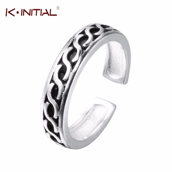Kinitial Trendy 925 Sterling Silver Jewelry Twist Infinity Ring Women Lover Party Finger Vintage Twist Cross Line Ring Female