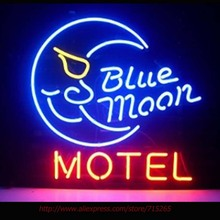 Blue Moon Motel Neon Sign Neon Bulbs Led Signs Real Glass Tube Handcrafted Restaurant Decorate Beer Advertise 17x14