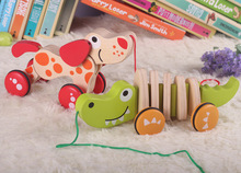 Baby wooden toys pull dog crocodile brinquedos early educational kids toys(China)