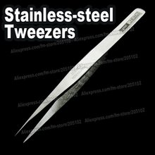 2pcs/lot Stainless Steel SHARP Tweezers,pick-up tools for DIY crystals,jewelry . pincers nipper nail art beauty hand clip