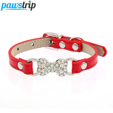 Candy Color Pet Cat Collar Luxury Diamante Bling Bone Neck Strap PU Leather Adjustable Small Dog Collar(China)