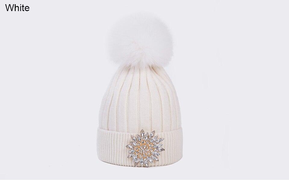 Ralferty Women's Real Fox Pompom Hat Knitted Rabbit Skullies Winter Hats For Women Big Flower Crystal Beanies Black Cap bonnet 13