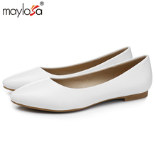 MAYLOSA Women Black Shoes Woman Genuine Leather pumps Fashion Handmade Leather working shoes Female Casual Shoes Women pumps