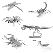 3D Metal Puzzles for children Adults Model Toys  Jigsaw Metal Insect Spider Scorpion Mantis Dragonfly puzzles educational toys