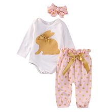 Buy Cute Newborn Baby Girl Clothes 3PCS Infant Bebes Rabbit Romper Bodysuit Gold Dot Pant Headwear Outfit Bebek Giyim Kids Clothing for $6.04 in AliExpress store