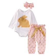 Cute Newborn Baby Girl Clothes 3PCS Infant Bebes Rabbit Romper Bodysuit Gold Dot Pant Headwear Outfit Bebek Giyim Kids Clothing