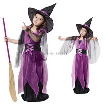 Shanghai Story Kids Halloween kids costumes + hat for girls hardcover children suit gauze carnival cap witch clothes