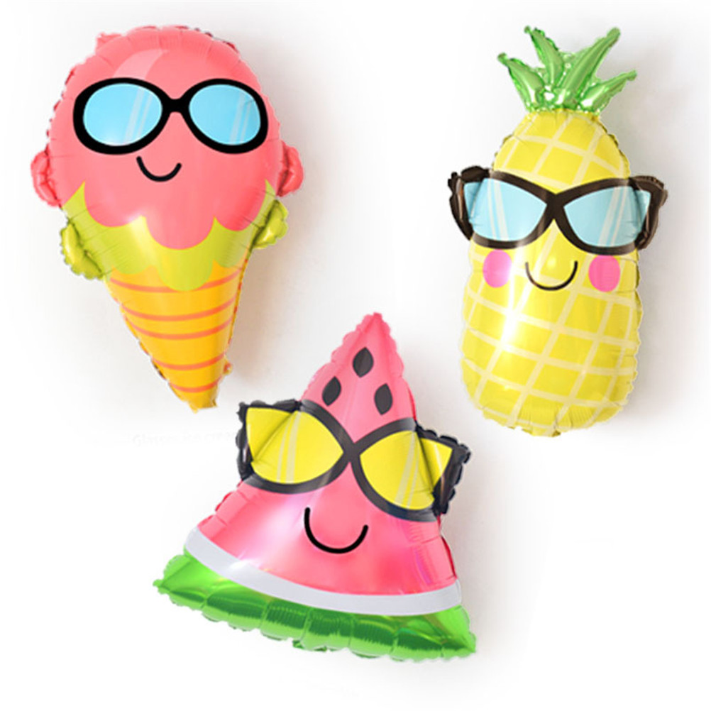 Funny Wear GlassesWatermelon Pineapple Foil Balloon Multi Style Cartoon Fruit Balloons for Kids Birthday Summer Party Decoration