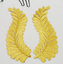 9*23cm gold leaves floral embroidered Patches Embroidery sew-on iron-on patch clothing craft Accessories A123