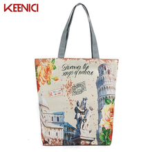 KEENICI Female Canvas Daily Use Single Shoulder Bag London Tower Printed Zipper Bags For Shopping Bag Casual Women Canvas Tote